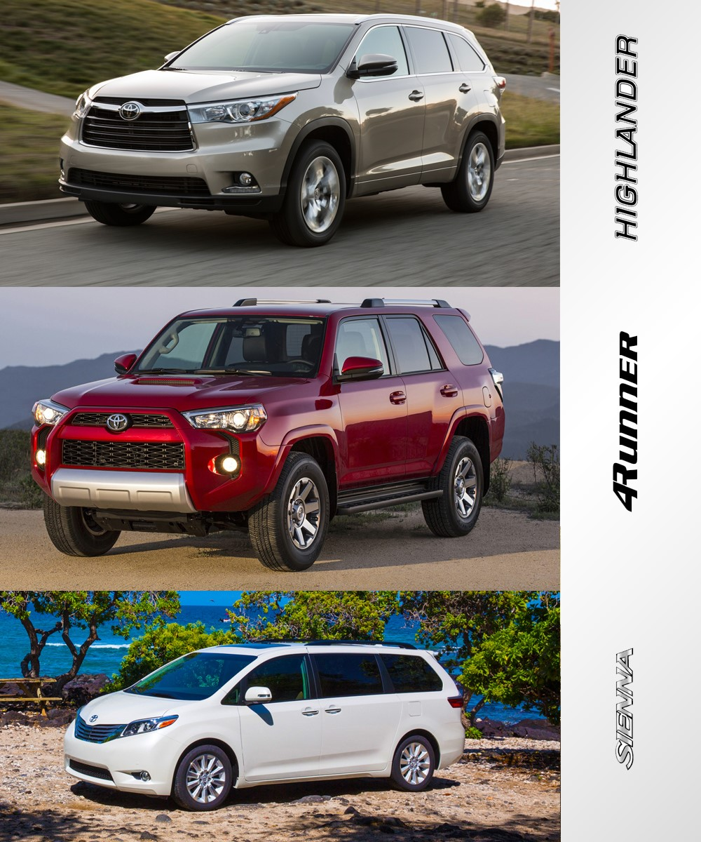 Toyota Highlander Vs Toyota 4Runner >> Toyota Family Vehicles Comparison Highlander Vs 4runner Vs